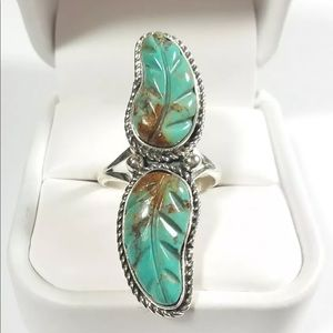 Jewelry - 925 ELONGATED DOUBLE CARVED FEATHERS TURQUOISE